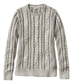LL Bean Women's Double L Sweater Mixed-Cable Pullo