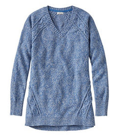 LL Bean Women's Double L Mixed-Cable Sweater,V-Nec