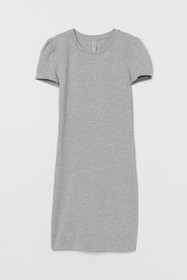 Fitted Puff-sleeved Dress