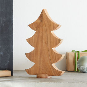 Crate Barrel Small Wooden Tabletop Christmas Tree