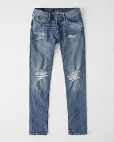 Ripped Super Skinny Jeans, LIGHT MEDIUM RIPPED WAS