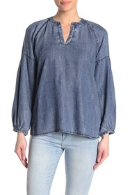 Liverpool Jeans Co Pleated Raglan Blouse