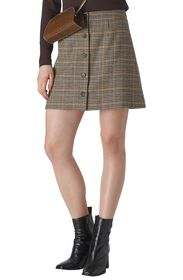 Whistles Houndstooth Check Button Front Miniskirt