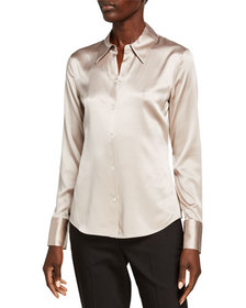 Theory Perfect Fitted Stretch Silk Satin Button-Do