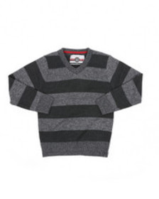 Arcade Styles rugby striped v-neck marled sweater