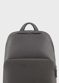 Armani Full-grain leather backpack with external p