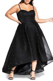 City Chic Sweet Studded High/Low Mesh Gown (Plus S