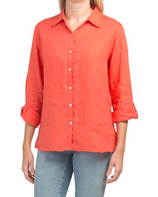 JNY Pigment Dye Roll Tab Button Front Linen Top