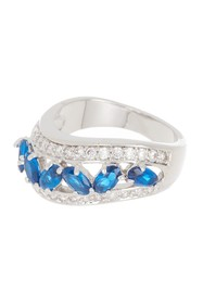 Covet Kate Blue CZ Wave Statement Ring