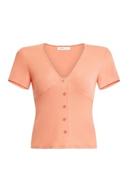 BCBGeneration Button Front Ribbed Knit Top