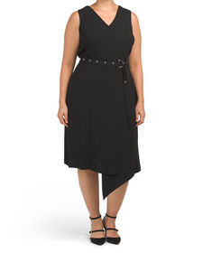 VINCE CAMUTO Plus Sleeveless Matte Crepe Belted Dr