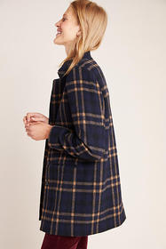 Anthropologie Jasmann Plaid Wool Coat