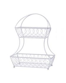 Mikasa Loop And Lattice 2 Tier White Flatback Stor