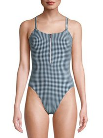 Juicy Couture Womens One-Piece Seersucker Swimsuit