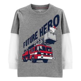 Toddler Boy Carter's Fire Truck Mock Layer Graphic
