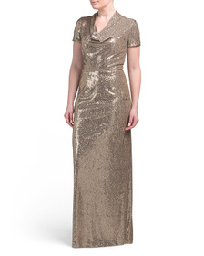 JS COLLECTIONS Cowl Neck Sequin Gown