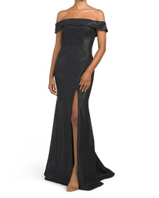FAVIANA Off The Shoulder Shine Gown With Slit