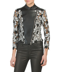 YIGAL AZROUEL Faux Leather & Lace Jacket