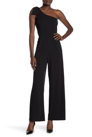 bebe Bow Shoulder Wide Leg Jumpsuit
