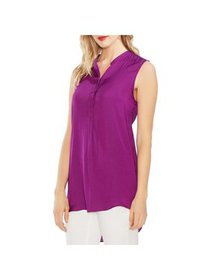 Vince Camuto Womens Plus Sleeveless Button Tank To