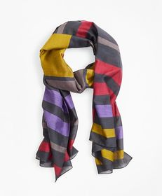 Brooks Brothers Striped Cotton-Silk Oblong Scarf