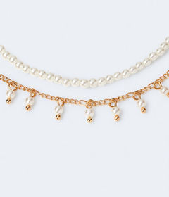 Aeropostale Faux Pearl Double-Chain Necklace
