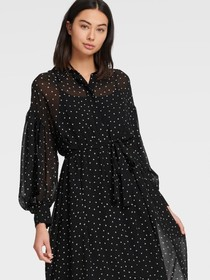 Donna Karan PRINTED DRESS WITH BOUFFANT SLEEVE
