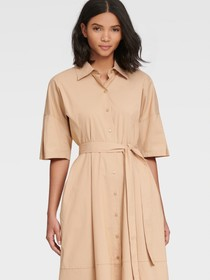 Donna Karan SHIRT DRESS WITH PLEATED SLEEVE