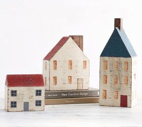 Pottery Barn Americana Wooden Decorative Houses