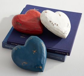 Pottery Barn Americana Wooden Decorative Hearts -