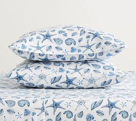 Pottery Barn Sea Shell Organic Percale Pillowcases