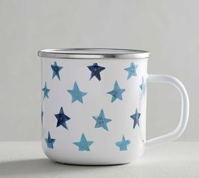 Pottery Barn Americana Watercolor Stars Enamel Mug