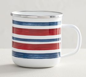 Pottery Barn Americana Watercolor Striped Enamel M
