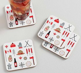 Pottery Barn Canada Icons Cork Coasters, Set of 4