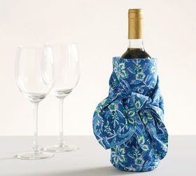 Pottery Barn Block Print Wine Sarong - Blue
