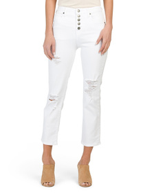 TRUE RELIGION High Rise Vintage Straight Jeans Wit