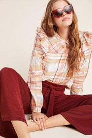 Anthropologie Polly Ruffled Peasant Blouse
