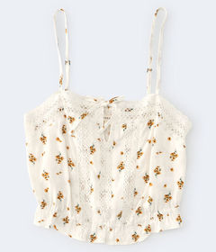 Aeropostale Floral Crocheted Bubble Top