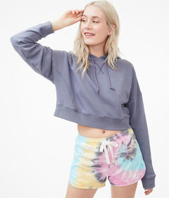 Aeropostale Solid Cropped Pullover Hoodie