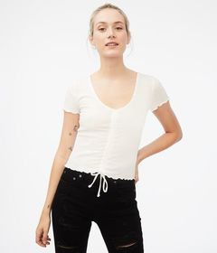 Aeropostale Ribbed Ruched-Front Tee