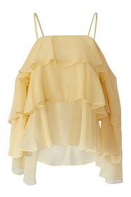 BCBGeneration Cold Shoulder Tiered Woven Top