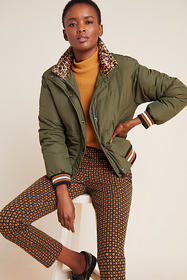 Anthropologie Sanctuary Leopard-Trimmed Puffer Jac