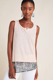 Anthropologie Asymmetrical Floral Tank