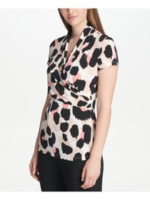 DKNY Womens Beige Printed Short Sleeve V Neck Form