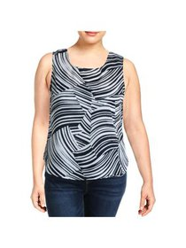 DKNY Womens White Animal Print Sleeveless Tank Top