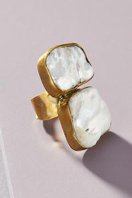 Anthropologie Lena Bernard Double Pearl Ring