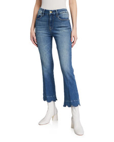 FRAME Le Crop Mini Boot-Cut Jeans with Scalloped H