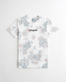 Hollister Floral Logo Graphic Tee, WHITE FLORAL
