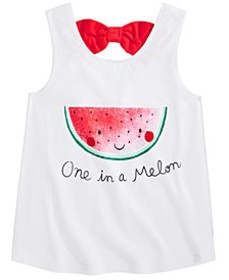 Toddler Girls Cotton Watermelon Bow-Back Tank Top,