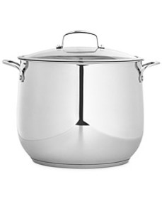 Polished Stainless Steel 16-Qt. Covered Stockpot,